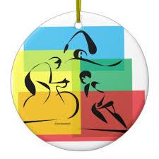 triathlon tri yin yang ceramic ornament zazzle