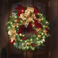 the cordless prelit regal ribbon wreath hammacher schlemmer