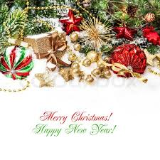 Happy New Year Decorations Decorations In Red Gold Green With Christmas Tree Branches