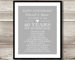 anniversary presents for parents 60th anniversary etsy