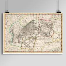 Constellations Map Ursa Major Star Constellations Print Antique Astronomy Star