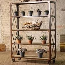 kalalou tall iron and wood display with five shelves and iron