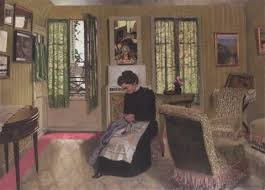 chambre gris vert chambre gris vert avec femme en noir cousant by félix vallotton on