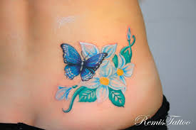 Flower Butterfly Tattoos 01 Beautiful Color Butterfly With Flowers Tats