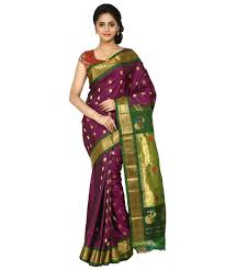 Purple Color Buy Handloom Pure Gadwal Silk Saree In Purple Color Gocoop