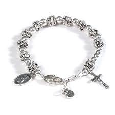 rosary bracelet chunky rosary bracelet silver ek designs jewelry