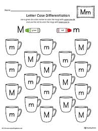 letter case recognition worksheet letter m myteachingstation com