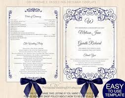 Wedding Fan Programs Diy Navy Blue Vintage Scroll Fan Program Template Paddle Fan