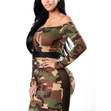 army pattern crop top off shoulder long sleeves women sets crop top and long skirt army