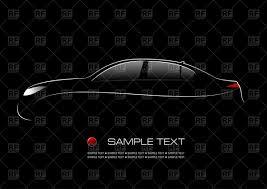 outline of car sedan on black background vector clipart image