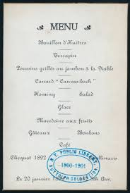 menu card from a dinner hosted by consuelo vanderbilt u0027s aunt mrs