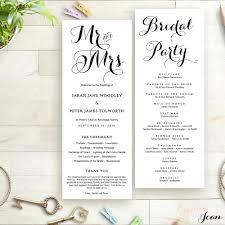order of wedding program template wedding program template printable order of