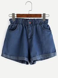 Denim Blue by Blue Elastic Waist Rolled Hem Denim Shorts