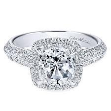 cushion ring 14k white gold cushion cut halo engagement ring er8872w44jj