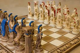 ceramic handmade chess set greek gods of olympus big