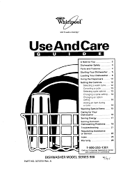 whirlpool dishwasher 900 series user guide manualsonline com