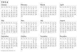 printable 2016 calendar one page