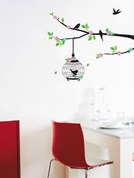 reusable decoration wall sticker decal bird cage design wall