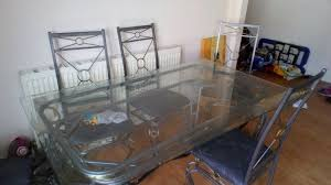cast iron glass table large cast iron glass dining table with 6 chairs in leeds west