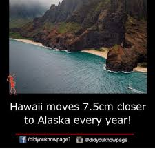 Hawaii Memes - hawaii moves 75cm closer to alaska every year didyouknowpage meme