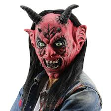 sale horror funny red eyes satan devil latex mask with wig ox horn