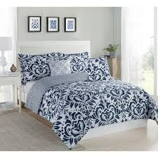 Queen Comforter On King Bed Studio 17 Anson Damask Navy White 5 Piece King Comforter Set