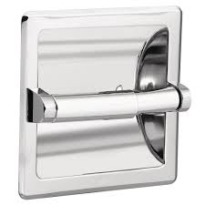 moen recessed toilet paper holder in chrome with matching roller