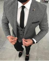 dark grey squared 3 piece suit jacket vest u0026 pants
