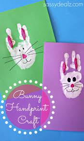 bunny rabbit handprint craft for kids easter idea crafty morning