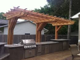 Outdoor Kitchen Backsplash by Outdoor Kitchen Pergola Ideas Inspirations Also Awesome Design In