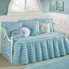 Girls Daybed Bedding Illusion Pastel Blue Chenille Ruffled Flounce Daybed Set Bedding