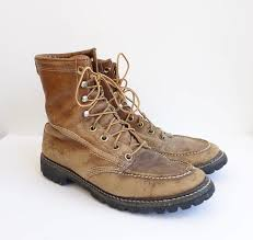 light brown combat boots vintage well worn leather work boots made in usa thrashed combat