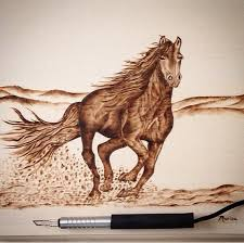 wild and free stunning woodburned horse art by marisa of