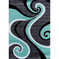 Abstract Area Rugs 5 2 X 7 2 Modern Abstract Area Rug With Black Turquoise Swirl