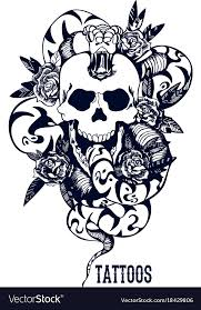 skull with snake and five roses blue vector image