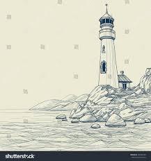 lighthouse on seashore vector sketch stock vector 102402100