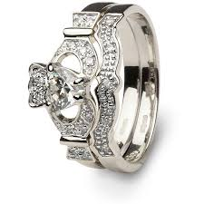 diamond wedding ring sets claddagh engagement wedding ring set sl 14l68wdd set