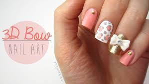 cute 3d bow nail art youtube