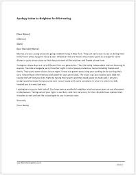 formal apology letter apology letter to neighbor for mistreating