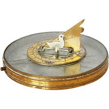 1910s french desk compass sundial with foldable butterfield type