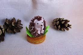 Polymer Clay Home Decor Hedgehog Figurine Polymer Clay Sculpture Hedgehog Miniature