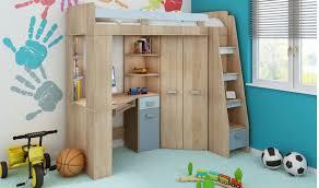 lit bureau combiné lit surelevé enfant avec rangement bureau et armoire intégré
