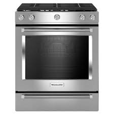 Clean Stainless Steel Cooktop Kitchenaid 30 In 5 8 Cu Ft Slide In Gas Range With Self