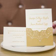 wedding invitations gold and white luxury gold foil sted lace laser cut wedding invites swws016