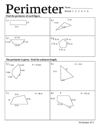 all worksheets perimeter worksheets with missing sides free