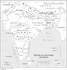 India Blank Map by An Ouline Physical Map Of Of India India Relief Features And