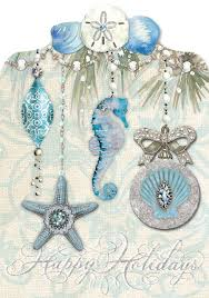 sea blue ornaments cards punch studio