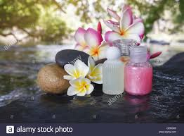 mini set of bubble bath shower gel liquid with flowers and pebble