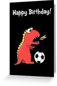 funny cartoon dinosaur soccer black birthday card
