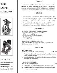 Art Resumes High Resume Sample Artist College Admission